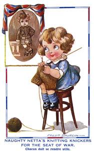 Kilt knitting postcard