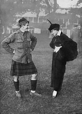 Kilt photo of soldier and parisian