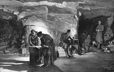 Dadd soldiers in cave