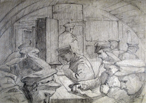 Nissen interior pencil sketch