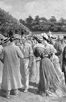 AF Wilding with fans 1905
